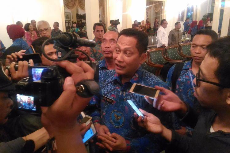Kepala Badan Narkotika Nasional (BNN), Komjen Pol Budi Waseso di bangsal Kepatihan, Jalan Malioboro, Kota Yogyakarta, Jumat (21/7/2017).