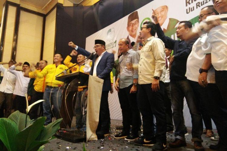 Kandidat Gubernur Jawa Barat Ridwan Kamil saat berpidato di Hotel Papandayan Bandung, Rabu (27/6/2018) untuk merayakan kemenangan pasangan Rindu merujuk hasil hitung cepat sejumlah lembaga survei.