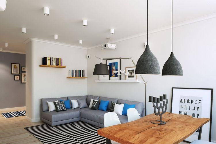 Model lampu yang berbeda di ruang makan dan ruang keluarga