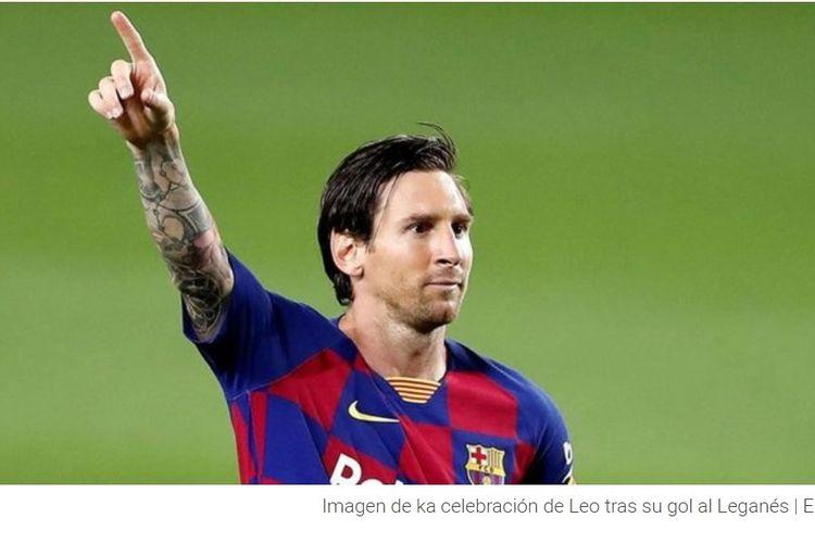 Selebrasi Lionel Messi dalam laga Barcelona vs Leganes.