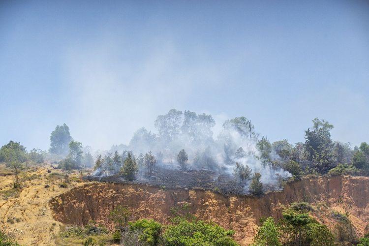 Asap mengepul akibat kebakaran hutan di wilayah Nongsa, Batam, Kepulauan Riau, Rabu (15/4/2020). Berdasarkan data aplikasi SiPongi Kementerian Lingkungan Hidup dan Kehutanan (KLHK) jumlah titik panas (hot spot) di wilayah Kepulauan Riau mengalami peningkatan dari sebelumnya berjumlah 37 titik panas pada bulan Maret 2020 naik menjadi 40 titik panas pada pertengahan April 2020 ini. ANTARA FOTO/M N Kanwa/aww.