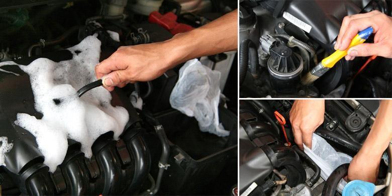 Tutupi bagian penting mesin dengan plastik atau aluminium foil sebelum dicuci.