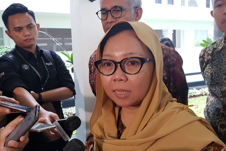 Alissa Wahid saat mendatangi Kantor Kementerian Koordinator bidang Pembangunan Manusia dan Kebudayaan, Jalan Medan Merdeka Barat, Jakarta Pusat, Selasa (19/11/2019).