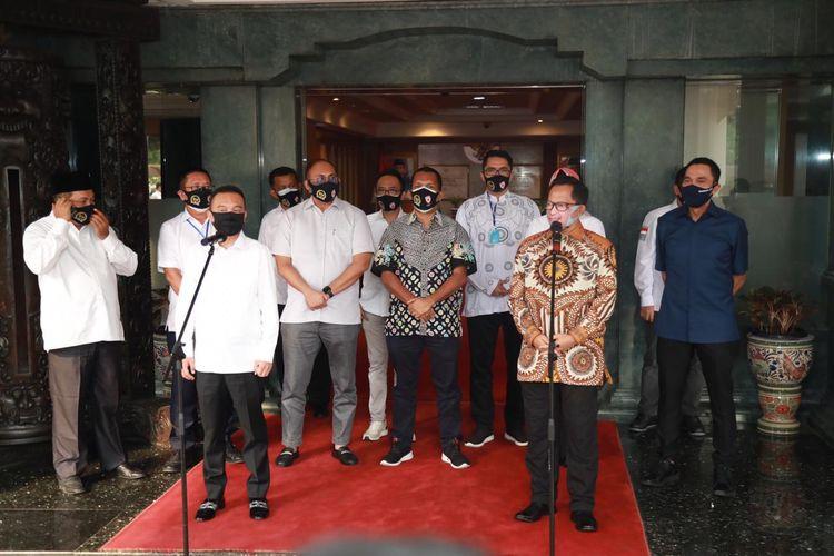 Koordinator Satgas Lawan Covid-19 DPR RI, Sufmi Dasco Ahmad, bersama Mendagri Tito Karnavian di kantor Kemendagri, Kamis (28/5/2020)