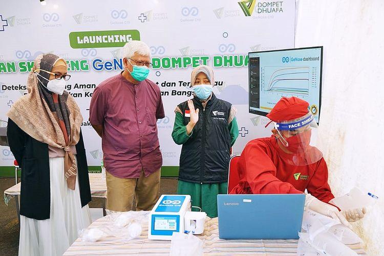 Selasa (9/3/2021), Dompet Dhuafa meluncurkan layanan skrining GeNose karya anak bangsa.bertempat di layanan skrining mobile COVID-19 Gedung Philanthropy Pejaten, Jakarta Selatan. Skrining tersebut dinilai efektif dan efisien untuk mendeteksi COVID-19.