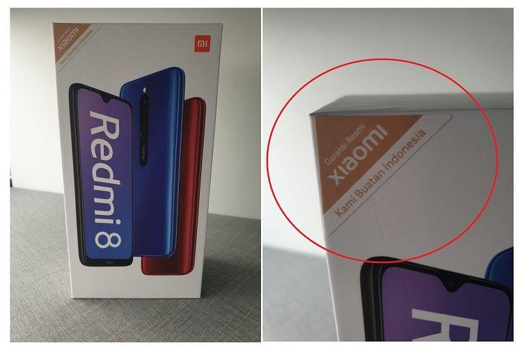 Stiker garansi baru dari Xiaomi yang tertempel di sudut kiri kotak kemasan.