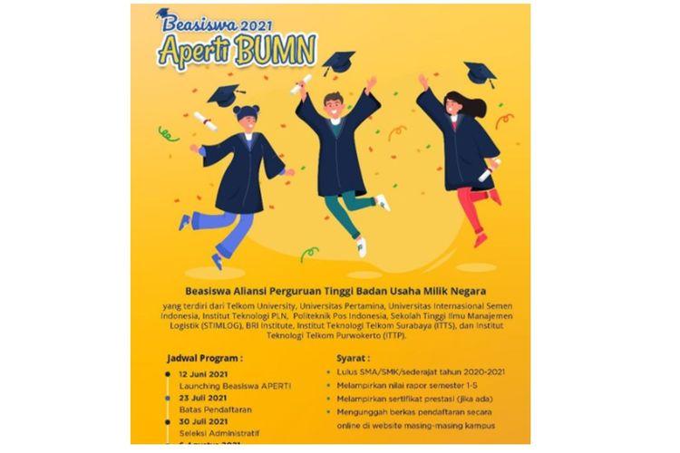 Pendaftaran beasiswa Aperti BUMN 2021 resmi dibuka, Sabtu (12/6/2021)