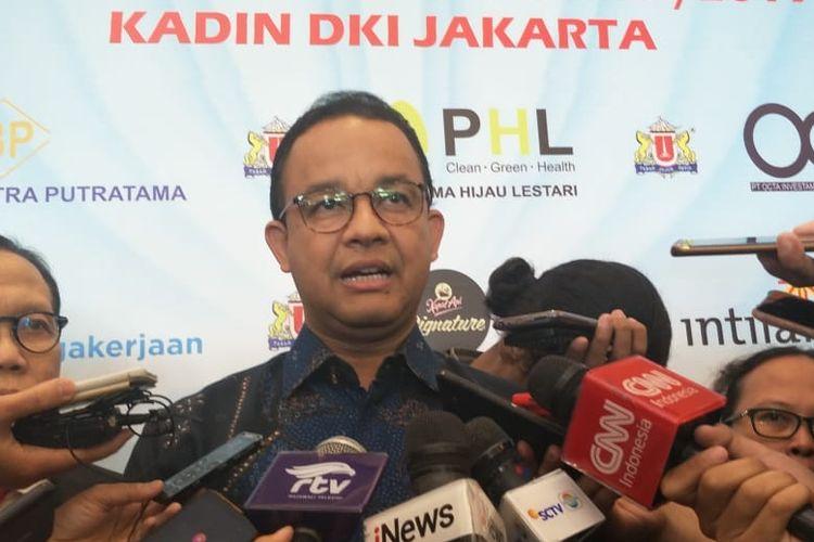 Gubernur DKI Jakarta Anies Baswedan di Hotel Sultan, Jalan Gatot Subroto, Jakarta Pusat, Kamis (8/8/2019).