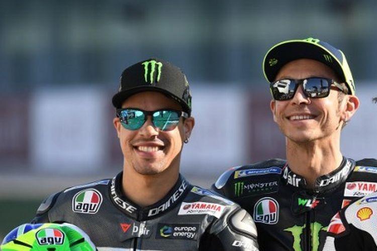 Tiga pebalap MotoGP, Franco Morbidelli, Valentino Rossi, dan Francesco Pecco Bagnaia
