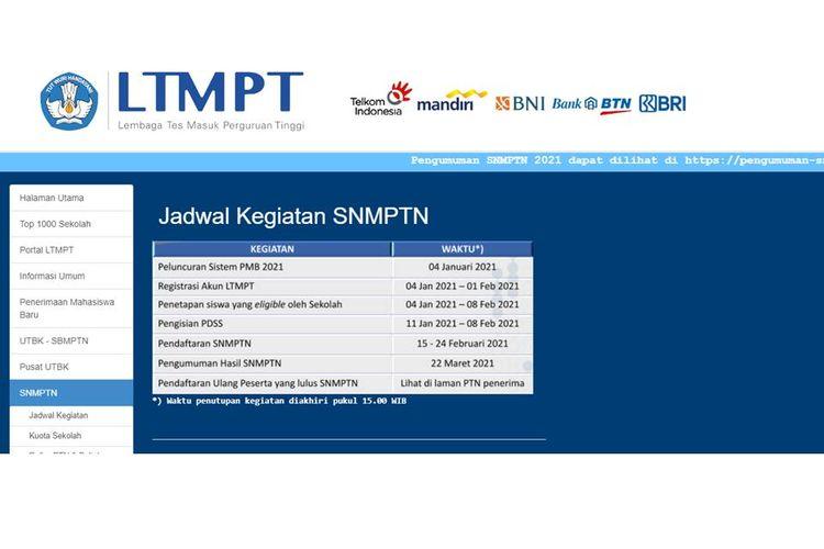 Laman LTMPT yang memuat informasi soal SNMPTN 2021.