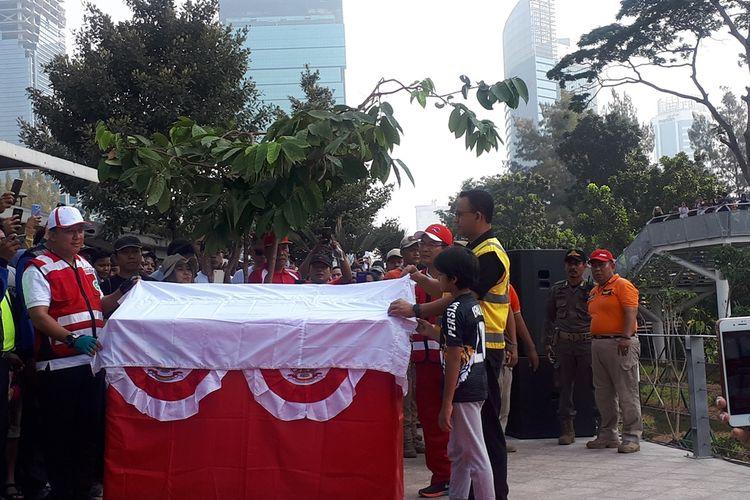 Gubernur DKI Jakarta Anies Baswedan meresmikan Taman Spot Budaya Dukuh Atas yang merupakan ruang terbuka publik di kawasan Dukuh Atas, Jakarta Selatan, Minggu (18/8/2019).