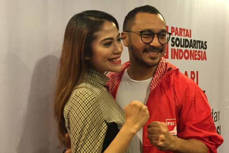 Giring Ganesha mendeklarasikan diri maju sebagai calon legislatif pada Pemilu Legislatif (Pileg) 2019 melalui Partai Solidaritas Indonesia (PSI) di Kantor DPP PSI, Jalan KH Wahid Hasyim, Tanah Abang, Jakarta Pusat, Rabu (6/9/2017).