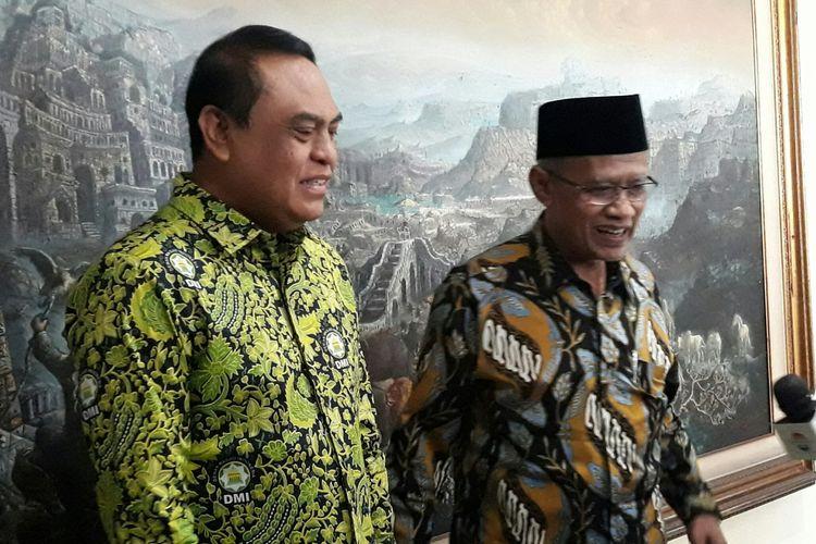 Ketua Dewan Masjid Indonesia (DMI) sekaligus Wakapolri Komjen Pol Syafruddin bersama Ketua Umum PP Muhammadiyah Prof Haedar Natsir di Jakarta, Kamis (5/7/2018).