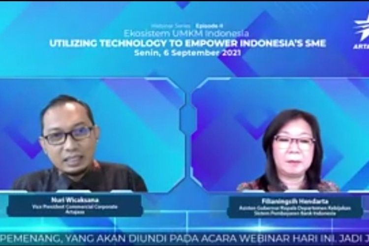 Asisten Gubernur Kepala Departemen Kebijakan Sistem Pembayaran Bank Indonesdiskusi webinar Artajasa secara virtual, Senin (6/9/2021). ia (BI) Filianingsih Hendarta
