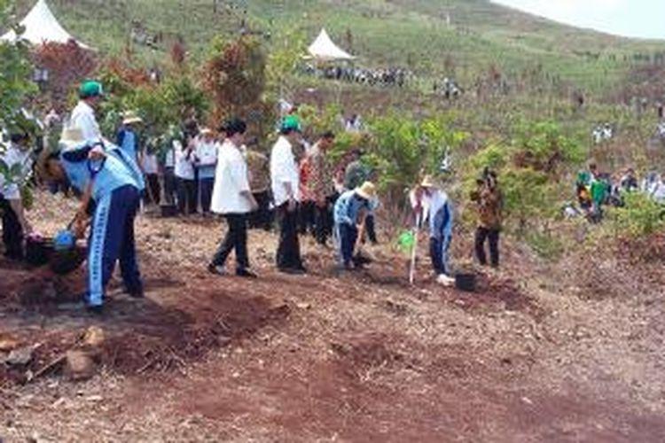 Presiden Joko Widodo didampingi Ibu Negara Iriana Widodo saat melakukan penanaman pohon di Taman Hutan Rakyat Kalimantan Selatan, Kamis (26/11/2015).