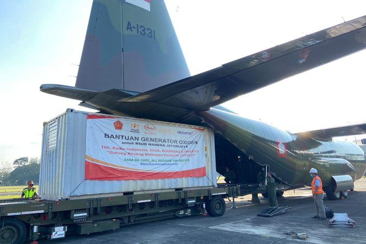TNI mengirimkan bantuan berupa satu unit generator oksigen untuk Rumat Sakit Umum Daerah (RSUD) Wamena, Papua Barat.