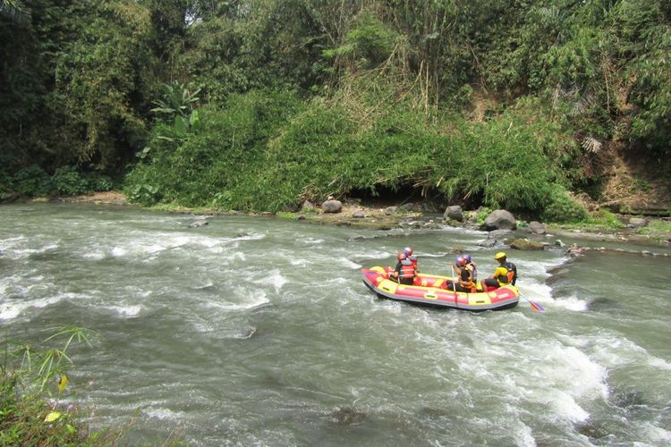Kegiatan wisata alam rafting Sungai Elo, Magelang, Jawa Tengah.