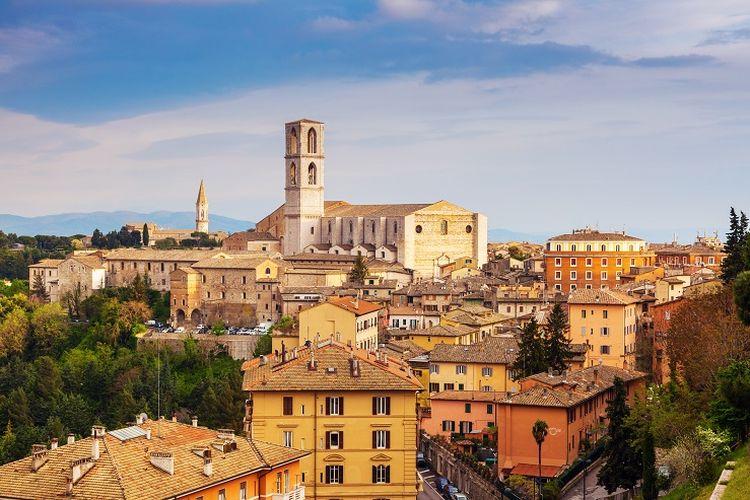 Ilustrasi Italia - Basilica of San Domenico di Perugia, Umbria, Italia.