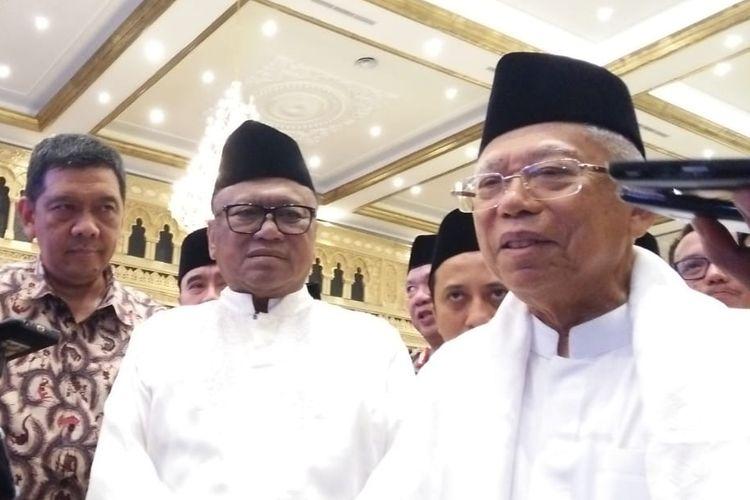 Maruf Amin usai buka puasa bersama Oesman Sapta Odang, Senin (3/6/2019).