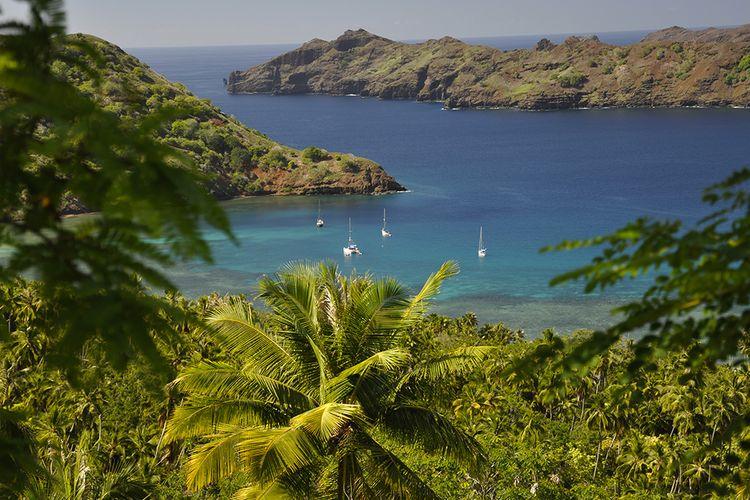 Pulau Nuku Hiva di Kepulauan Marquesans, Polinesia Perancis