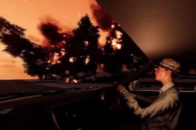 Bagian dari simulasi kebakaran hutan yang diperkenalkan otoritas Victoria, Australia. Simulasi itu diterapkan agar warga siap menghadapi bencana yang terjadi.