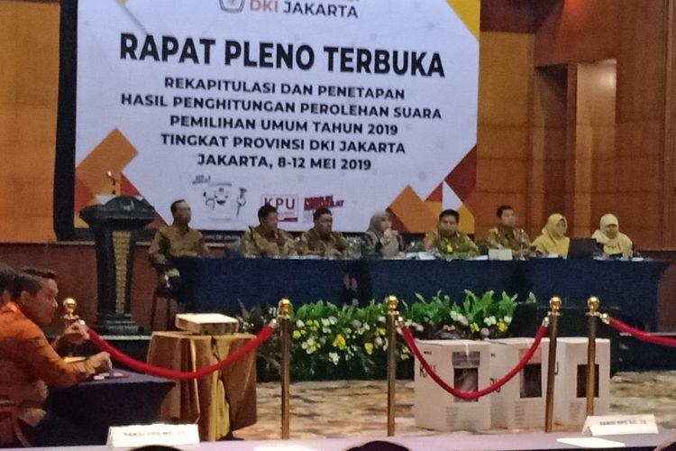 Rekapitulasi penghitungan suara untuk wilayah DKI Jakarta di Hotel Bidakara, Jakarta Selatan, Kamis (9/5/2019).