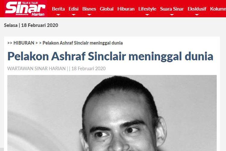 Tangkapan layar artikel soal meninggalnya Ashraf Sinclair di media Malaysia, Sinar Harian.