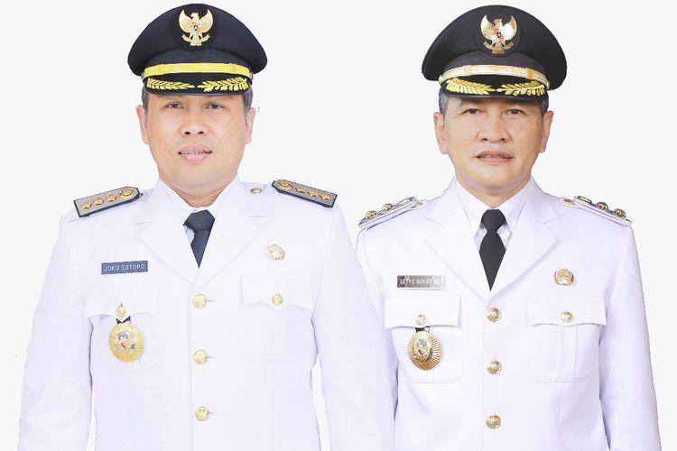 Bupati Wonogiri Joko Sutopo (Jekek) (kiri) dan Wakil Bupati (Wabup) Wonogiri Setyo Sukarno (kanan).