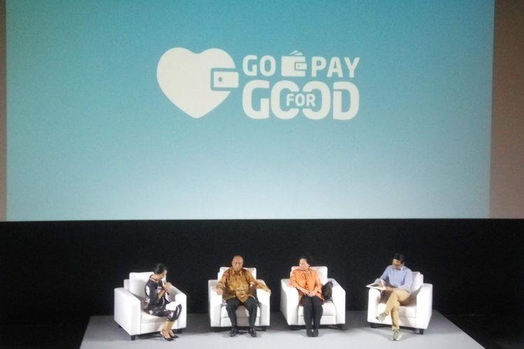 Peluncuran Go-Pay for Good di Jakarta, Senin (18/2/2019).