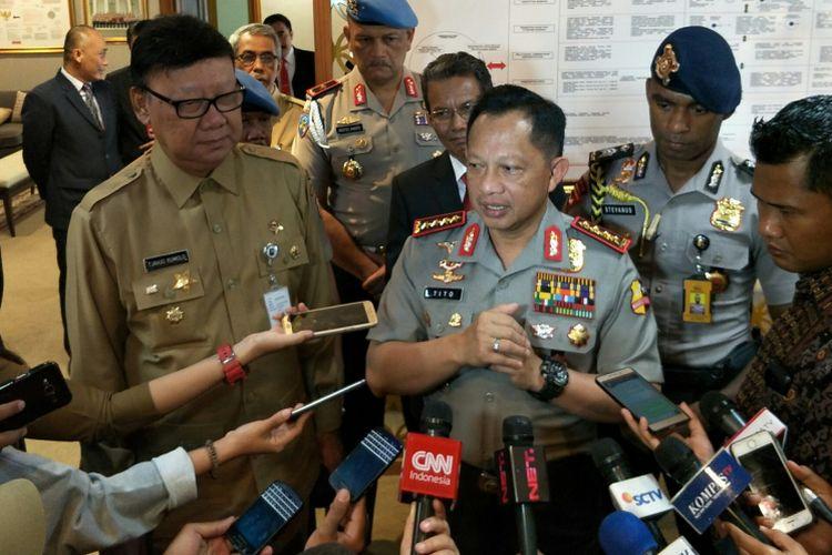 Kapolri Jenderal Polisi Tito Karnavian ketika ditemui di kantor Kementerian Dalam Negeri, Jakarta, Senin (15/1/2018).