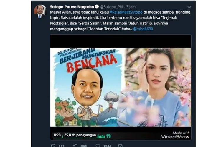 Kapusdatin dan Humas BNPB, Sutopo Purwo Nugroho terkejut melihat tagar #RaisaMeetSutopo sempat menjadi trending di media sosial Twitter.