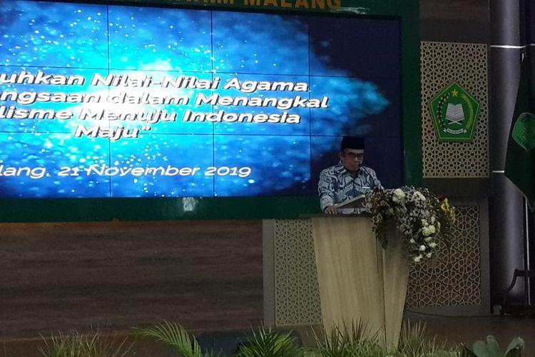 Menteri Agama, Jenderal (Purn) Fachrul Razi saat menjadi pembicara dalam kuliah tamu di Universitas Islam Negeri (UIN) Maulana Malik Ibrahim, Kota Malang, Kamis (21/11/2019).