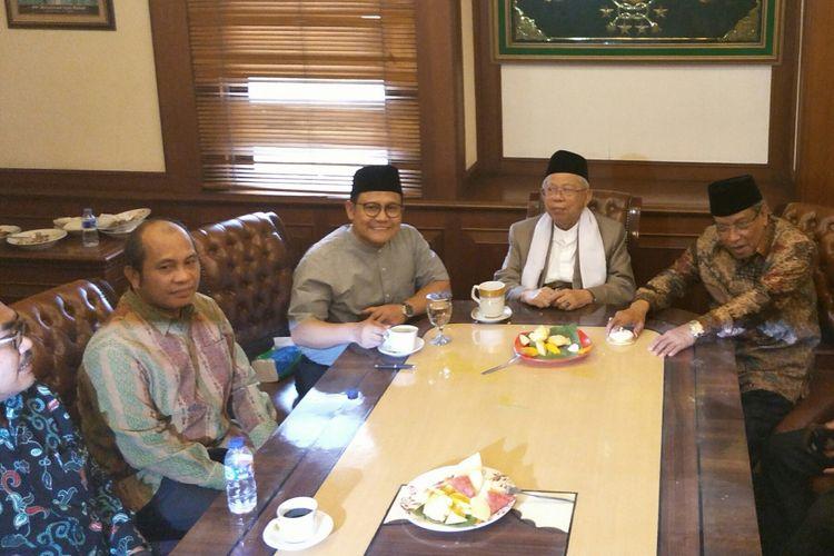 Ketua Umum PKB Muhaimin Iskandar bersama Rais Aam PBNU KH Maruf Amin dan Ketua Umum PBNU KH Said Aqil Siradj di Kantor Pusat PBNU, Senen, Jakarta, Selasa (14/8/2018).