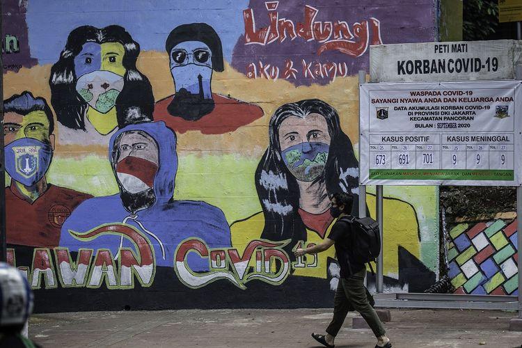 Warga berjalan di dekat mural berisi pesan ajakan menggunakan masker dan replika peti mati COVID-19 di Cikoko, Pancoran, Jakarta, Jumat (2/10/2020). Mural tersebut dibuat untuk mengingatkan masyarakat agar menerapkan protokol kesehatan saat beraktivitas karena masih tingginya angka kasus COVID-19 secara nasional. ANTARA FOTO/Aprillio Akbar/pras.