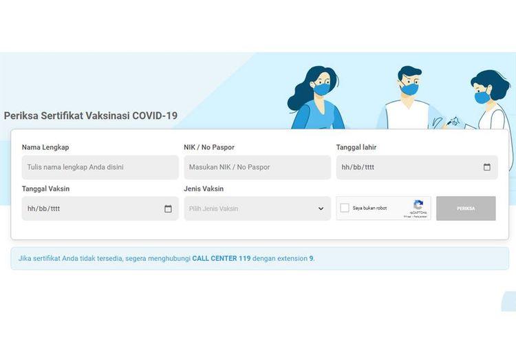 Tangkapan layar fitur Periksa Sertifikat Vaksin di Pedulilindungi