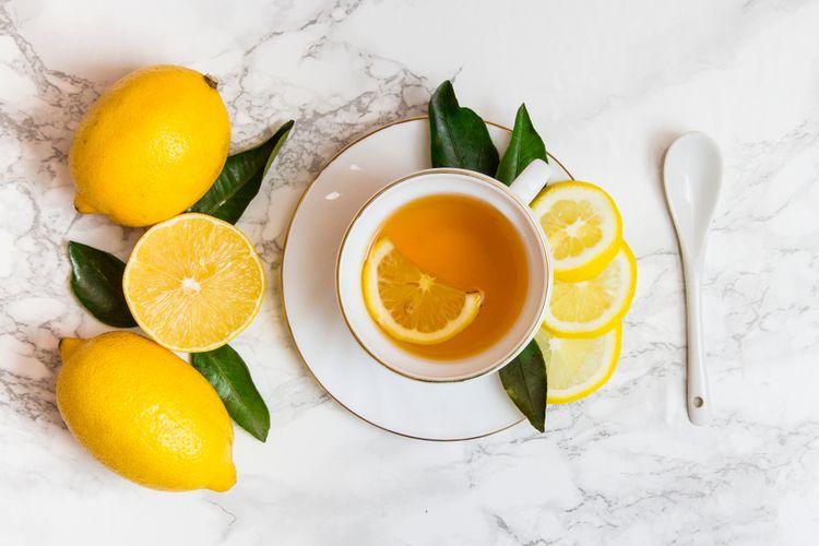 Ilustrasi lemon dan teh