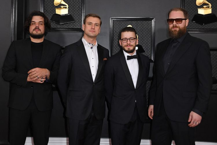 US band Bon Iver arrives for the 62nd Annual Grammy Awards on January 26, 2020, in Los Angeles. (Photo by VALERIE MACON / AFP)