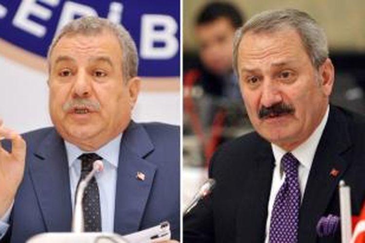 Menteri Dalam Negeri Turki Muammer Guler (kiri) dan Menteri Ekonomi Zafer Caglayan.