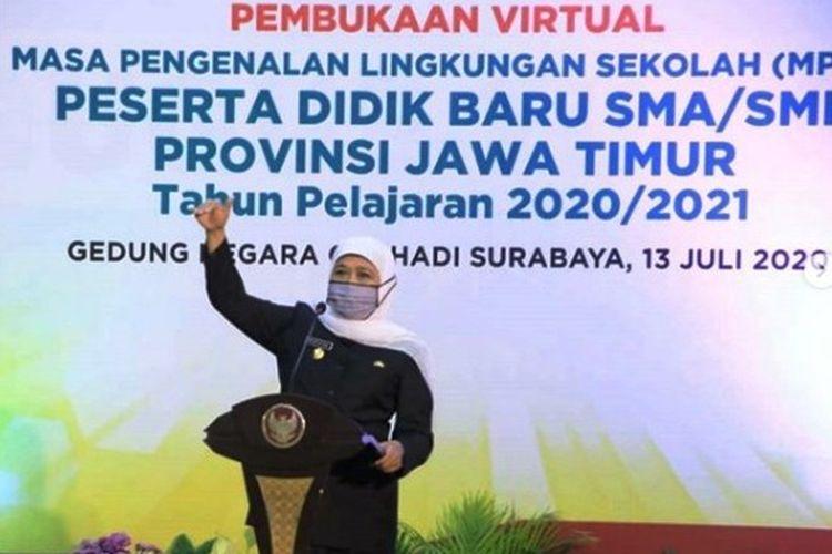 Gubernur Jawa Timur Khofifah saat membuka MPLS di Jatim.