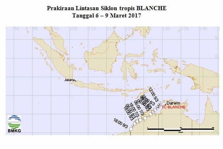Prakiraan Lintasan Siklon Tropis Blanche
