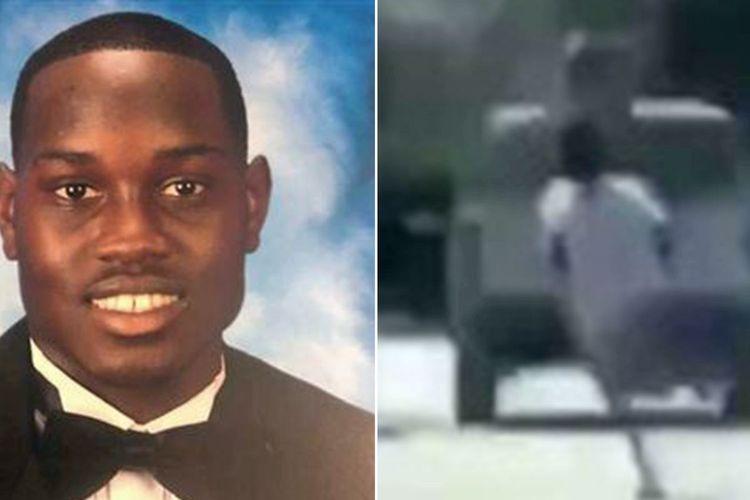 Ahmaud Arbery, pemuda kulit hitam berusia 25 tahun yang tewas ditembak di Brunswick, Georgia, Amerika Serikat (AS) pada Februari 2020. Foto kanan adalah momen ketika dia sedang berlari di mana ayah dan anak Gregory serta Travis McMichael, berada di mobil sebelum membunuhnya. Publik menuntut agar kasus berusia dua bulan tersebut bisa diselesaikan secara transparan.
