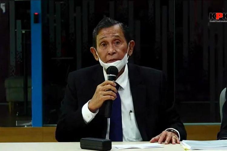 Ketua Dewan Pengawas KPK Tumpak Panggabean dalam konferensi pers pelanggaran kode etik pegawai KPK, Rabu (8/4/2021)