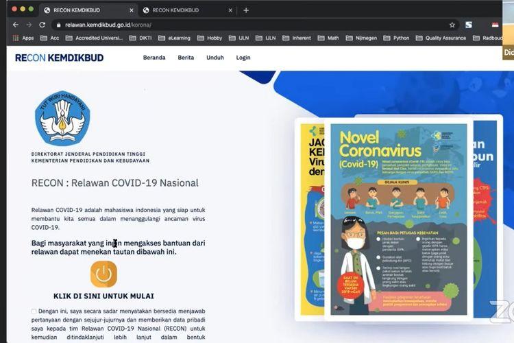 Kemendikbud meluncurkan platform berbasis web RECON yang menjadi media monitoring dan evaluasi bagi program relawan kemanusiaan Ditjen Dikti, serta membantu kegiatan preventif dan promotif penanganan Covid-19 di Indonesia.