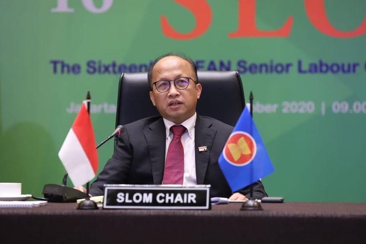 Perwakilan Kemnaker Indonesia, Anwar Sanusi dalam pertemuan SLOM ke-16 secara hybrid virtual meeting di Jakarta, Senin (26/10/2020).