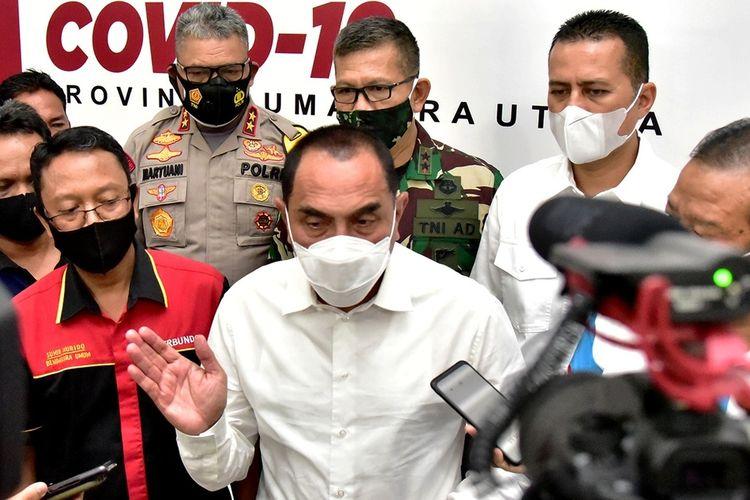Gubernur Sumatera Utara Edy Rahmayadi usai rapat dengan Forkopimda dan perwakilan buruh di pendopo rumah dinas gubernur, Senin (12/10/2020)