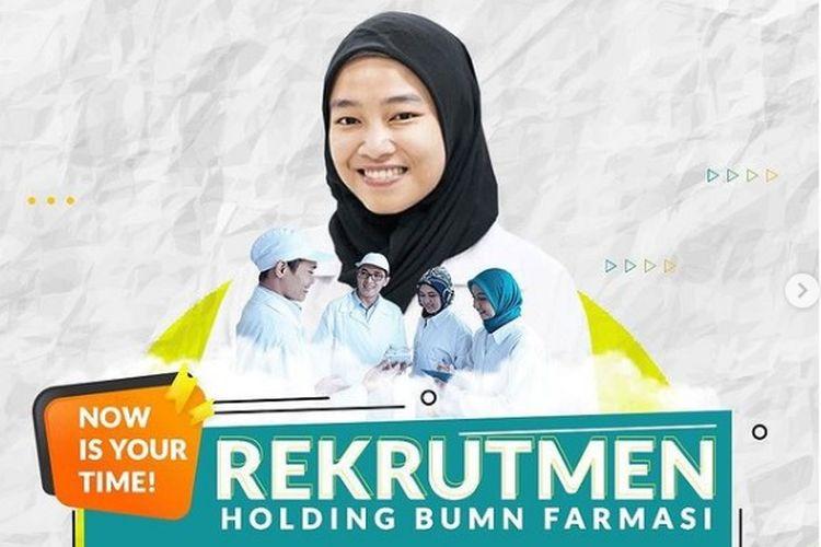 Tampilan layar informasi rekrutmen Holding BUMN Farmasi.