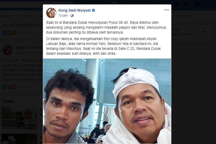 Sebuah postingan Dedi Mulyadi membantu mempertemukan Ahmad Yani (kiri) yang telantar di Bandara Dubai, dengan agennya, Lily, Jumat (13/12/2019).(screenshot akun Facebook Dedi Mulyadi)