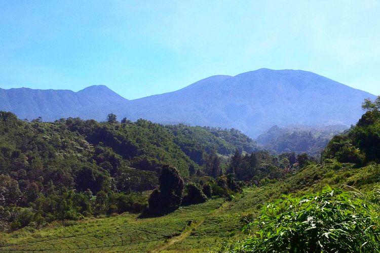 Pemandangan Gunung Gede Pangrango dari wilayah Selabintana, Desa Sudajayagirang, Sukabumi, Jawa Barat, Jumat (1/6/2018).