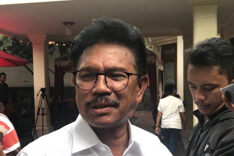 Wakil Ketua Tim Kampanye Nasional (TKN) Joko Widodo-Maruf Amin, Johnny G Plate, di Posko Cemara, Menteng, Jakarta Pusat, Rabu (19/9/2018).
