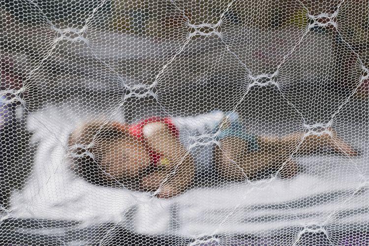 Anak tidur dengan jaring agar terhindar dari gigitan nyamuk.